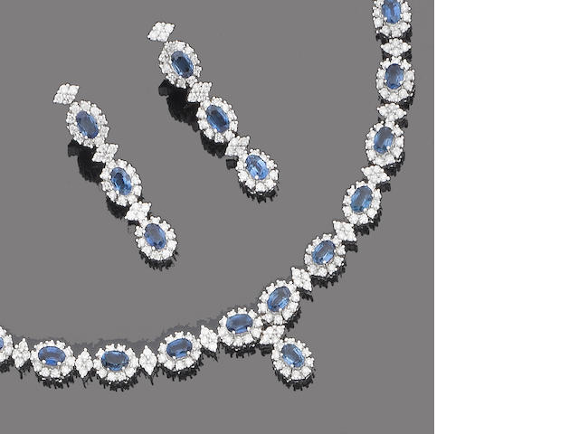 A sapphire and diamond necklace, bracelet, pendent earring and ring suite (4)