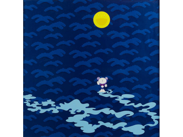 Takashi Murakami (Japanese, born 1962) Moon Offset lithograph in colours, 2001, on wove, signed, dated and numbered 19/300 in black ball-point pen, published by Kaikai Kiki Co., Ltd., Tokyo, 500 x 500mm (19 1/2 x 19 1/2in)(SH)