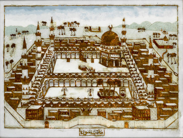 A view of the Mosque at Medina, painted on glass probably North Africa, late 19th Century