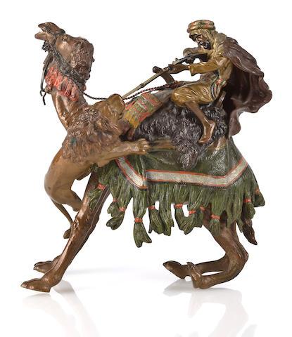 Bergman bronze, camel & lion