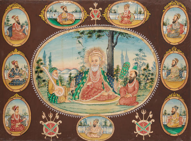 The ten Sikh Gurus Northern India, second half of the 19th Century