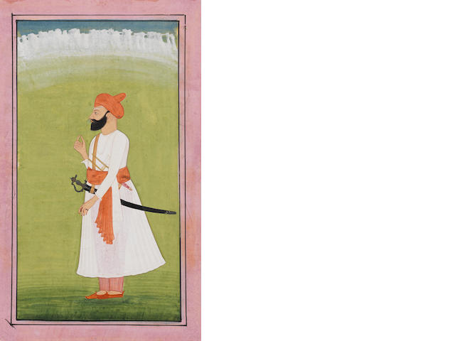 A prince wearing a white jama and carrying a tulwar Kangra, circa 1820