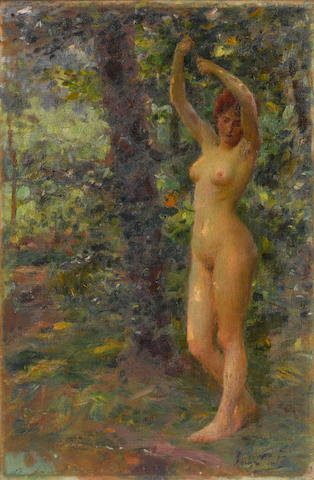 José Julio Souza Pinto (Portuguese, 1855-1939) A beauty in a forest