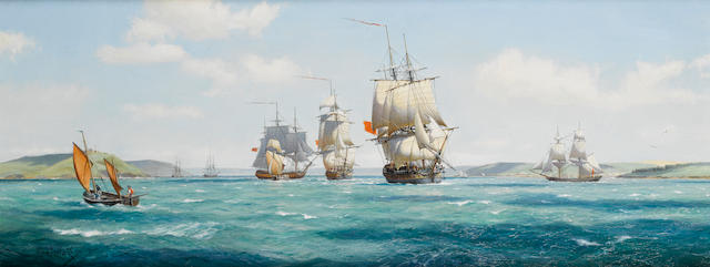 Derek George Montague Gardner (British, 1914-2007) 'Indefatigable, 44, with Jason, Concorde and Duke of York (lugger) leaving Falmouth, April, 1795'