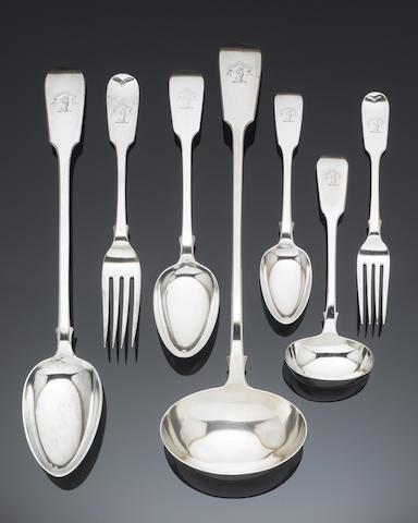 A Victorian silver Fiddle pattern table service of flatware, by Elizabeth Eaton, London 1847,  (64)