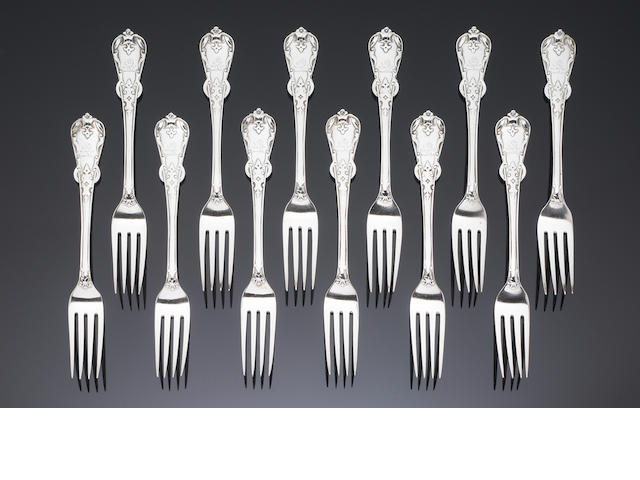 A Victorian set of silver Tudor pattern flatware, by George Adams, London 1850 - 53,  (Qty)
