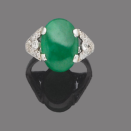 A jade and diamond ring,