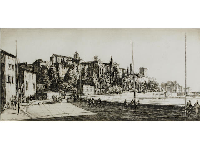 "Henry George Rushbury, RA, RWS, RE (British, 1889-1968) A Collection Etching and drypoints, including ""Old Deal"", ""Place des Victoires"", ""On the South Coast"", ""Bellhanger Quarry"", ""St Olave's, Tooley Street"", ""St Paul's in wartime, seen from the north"", ""Richborough"", ""Customs House, Kings Lynn"" and ""The Harbour, Lowestoft"". 15 unframed, 4 framed"