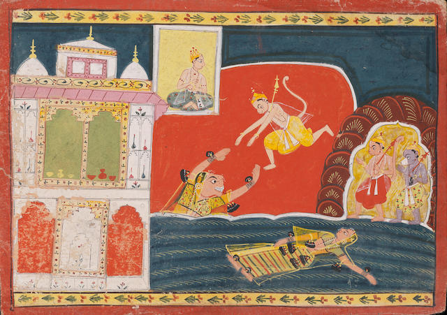 A scene from the Ramayana: Hanuman leaping into the jaws of the sea-serpent Surasa Malwa, circa 1690