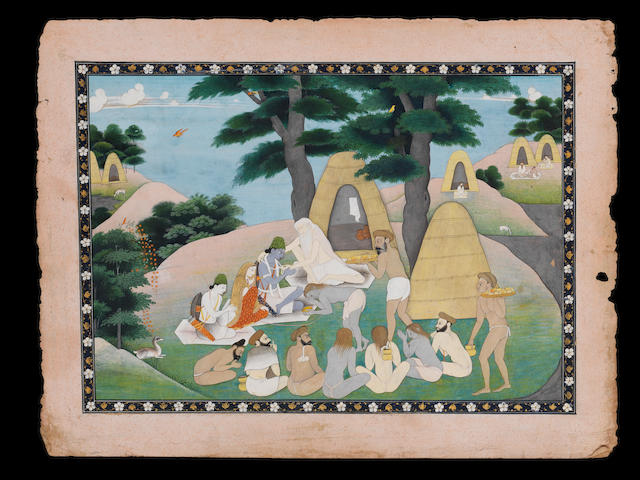 Rama and Sita with Lakshman visiting an ascetic in the forest Kangra, circa 1830