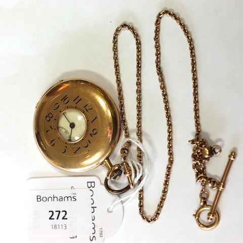 A 14ct gold half hunter pocket watch,