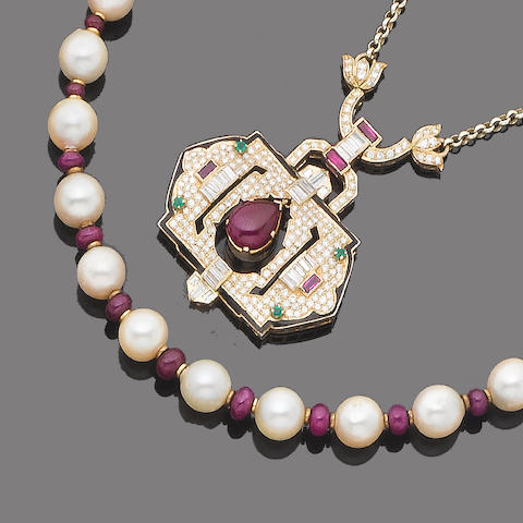 A ruby, emerald, enamel and diamond pendant necklace, a ruby and cultured pearl necklace and a pair of ruby and cultured pearl earrings (3) (partially illustrated)