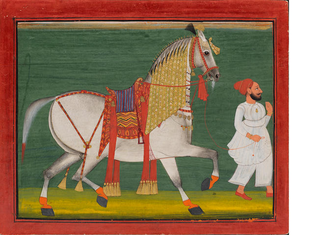 A groom leading a richly-caparisoned horse Mewar, circa 1800