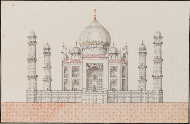 Four views: the Taj Mahal, the cenotaphs of Shah Jahan and Mumtaz Mahal, and the tomb of Itimad-ud-Daula at Agra Company School, Delhi or Agra, circa 1820-30