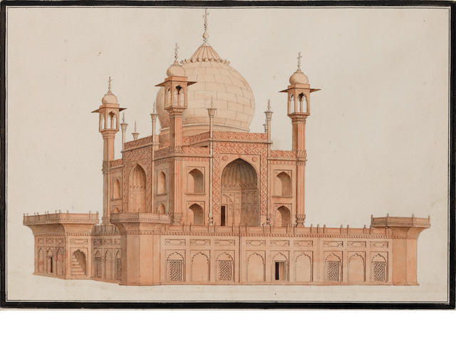 Three views: the city of Delhi from the River Jumna, the Red Fort at Agra, and the tomb of Safdar Jung near Delhi Company School, Delhi or Agra, circa 1820-30(3)
