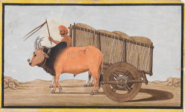 Two paintings of tradesmen with oxcarts Lucknow, circa 1810(2)