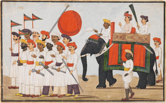 A prince riding on an elephant with attendants Lucknow, circa 1810