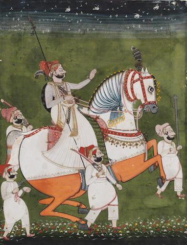 A prince on a caparisoned horse accompanied by attendants Mewar, early 19th Century