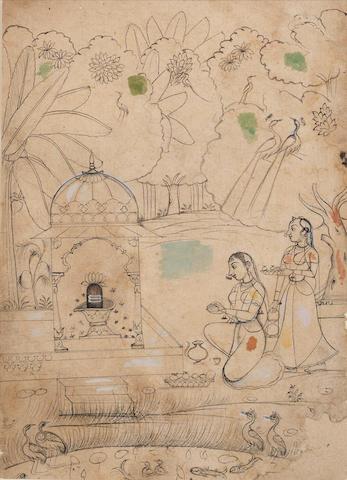 Maidens before a lingam shrine Kotah, 19th Century