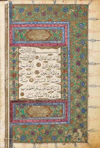 An illuminated Qur'an copied by Wali-ad-Din al-Tawfiqi Ottoman Turkey, dated AH 1272/AD 1855-56