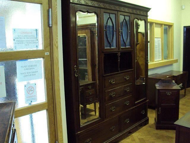 A late Victorian Lamb of Manchester mahogany near three-piece bedroom suite The wardrobe stamped 'LAMB MANCHESTER 22636'; the dressing table stamped 'LAMB MANCHESTER 22637'; the pot cupboard stamped 'LAMB MANCHESTER 22638'