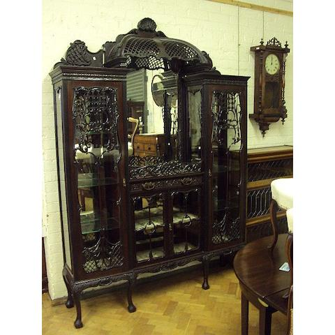 An impressive mahogany display cabinet, late 19th Century