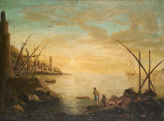 Follower of Claude Joseph Vernet (Avignon 1714-1789 Paris) A Mediterranean harbour at sunset
