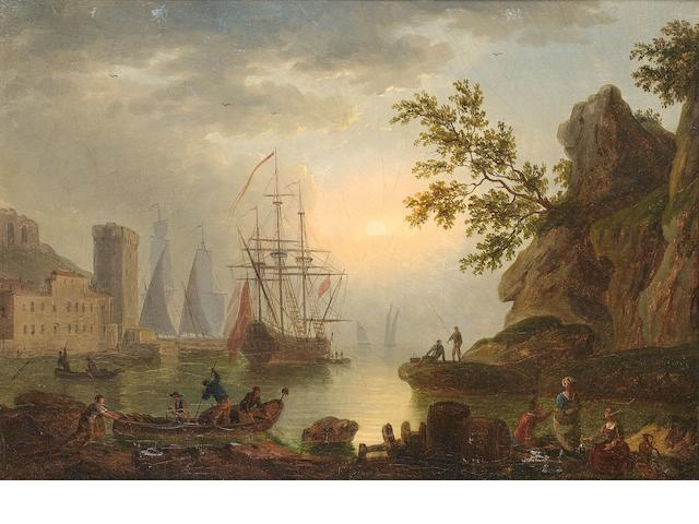 Follower of Claude Joseph Vernet (Avignon 1714-1789 Paris) Fishermen and other figures resting on a rock, shipping and a fortification in the distance; Figures and sailors approaching the shore before a fortified village; Fishermen returning to shore before a rocky coastal landscape; and A coastal landscape  (4)