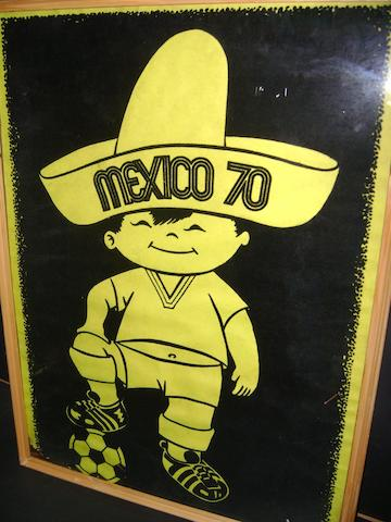 Mexico 1970 World Cup poster, towels and memorabilia
