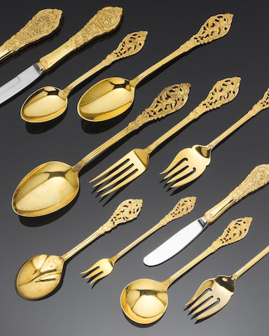 An American gilt metalware table service of flatware, by Reed & Barton, also marked STERLING,