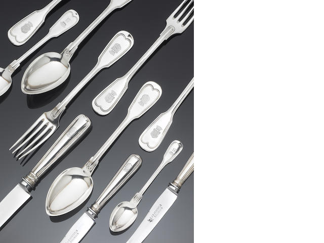 A  Continental  silver fiddle and thread flatware service, mixed dates and numbers,  predominately German, by Bruckmann & Sohne, active Heilbronn 1805-1973,   (Qty)