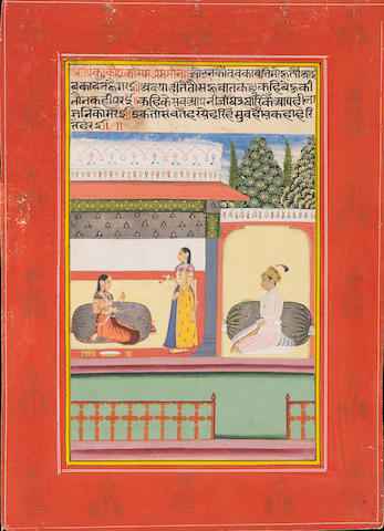 Two illustrated leaves, probably from a Ragamala series: a lady consoling a female companion in a pavilion; a prince waiting outside his lover's chamber Amber, first half of the 18th Century(2)