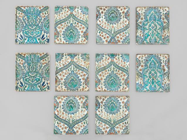 A group of Iznik pottery Tiles Turkey, 16th Century(10)
