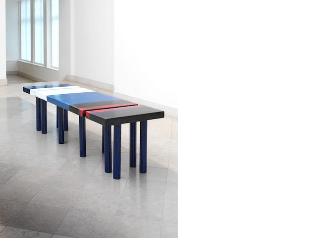 Tom Dixon, an unique sectional table, designed 2003 hand painted enamel on metal, comprising a large central table and two separate extensions