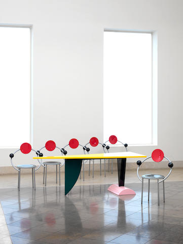 Michele De Lucchi for Memphis, six 'First' chairs, designed 1983 tubular steel and painted wood,
