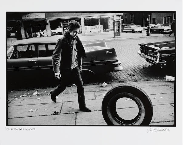 Jim Marshall (American, 1936-2010) Bob Dylan, New York City, 1963 Paper 40.6 x 50.6cm (16 x 19 7/8in), image 31.3 x 46.5cm (12 1/2 x 18 1/2in)
