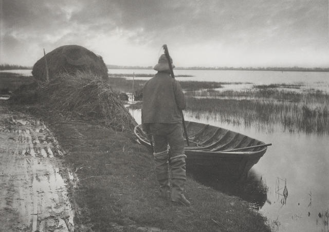 Peter Henry Emerson (British, 1856-1936) Marshman Going to Cut Schoof-Stuff, 1887, Plate XXII from Life & Landscape on the Norfolk Broads 20.5 x 29cm (8 1/16 x 11 7/16in).