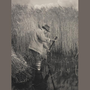 Peter Henry Emerson (British, 1856-1936) A Reed-Cutter at Work, 1886, Plate XXV from Life & Landscape on the Norfolk Broads  28.1 x 20.5cm (11 1/16 x 8 1/16in).