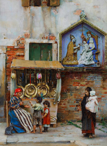 William Logsdail (British, 1859-1944) A street seller, Venice