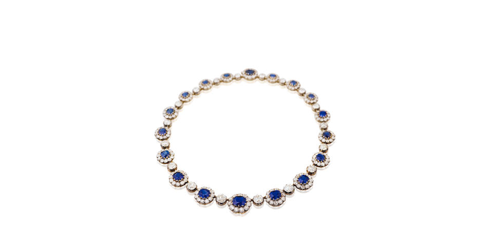 A late 19th century sapphire and diamond necklace