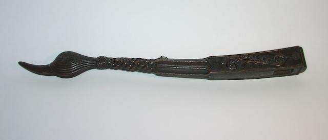 An early 19th century carved small boat tiller bar, 22in(56cm)long.