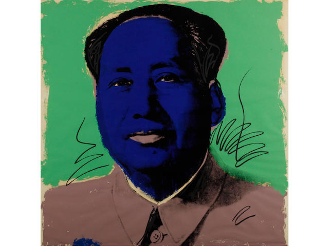 Andy Warhol (American, 1928-1987) Mao Screenprint, 1972, from the portfolio of ten, printed in colours, on Beckett High White paper, signed in ball-point pen and numbered from the edition of 250 with a rubber stamp verso, printed by Styria Studio, Inc., New York, published by Castelli Graphics and Multiples, Inc., New York, 914 x 914mm (36 x 36in)(SH)