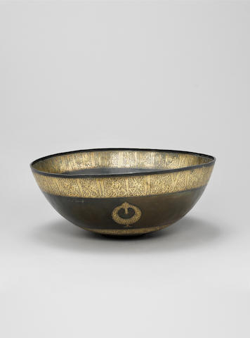 A fine large Seljuk gilt bronze Basin Persia, 12th Century