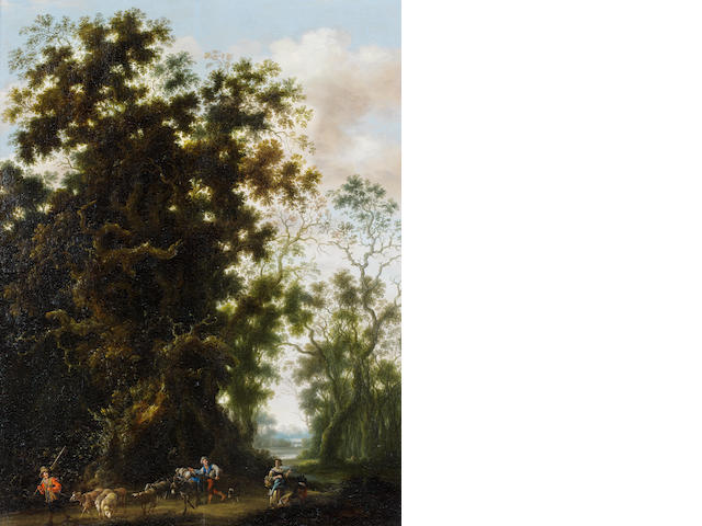 Joachim Govertsz. Camphuysen (Gorinchem circa 1601-1659 Amsterdam) A wooded landscape with a shepherd and his flock on a country path
