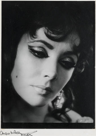 Angus McBean, Elizabeth Taylor as Helen of Troy in Dr Faustus, O.U.D.S., 1966, vintage gelatin silver print, signed on mount, framed