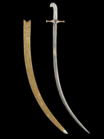 A gem-set jade-hilted steel Sword (shamshir) India, 19th Century(2)