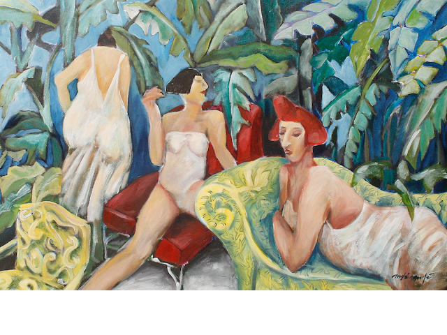 20th Century, Continental School, Female figures in the jungle, oil on canvas