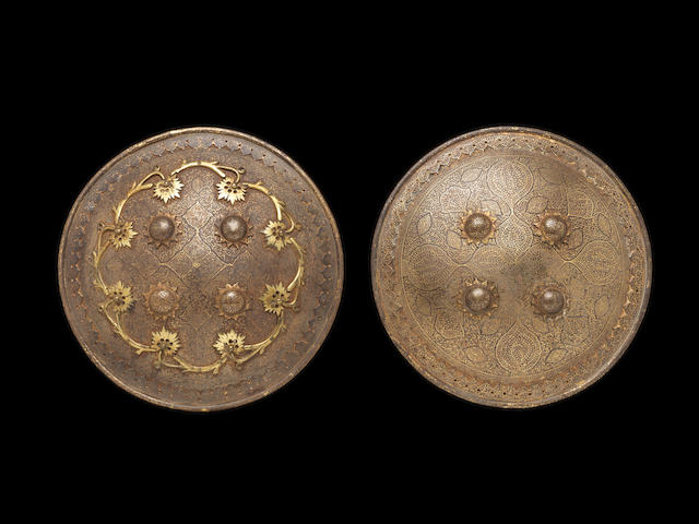Two koftgari steel Shields Sialkhot, Northern India, 19th Century(2)