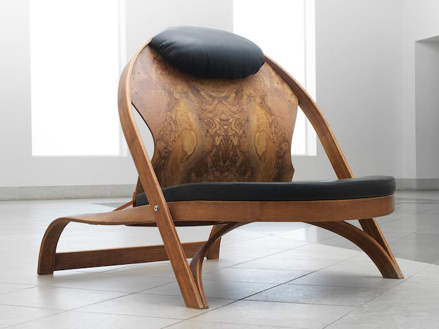Richard Artschwager for Vitra, a 'Chair/Chair', designed and executed in 1987 black leather seat and bent ash ply, walnut veneer and frame painted metal,