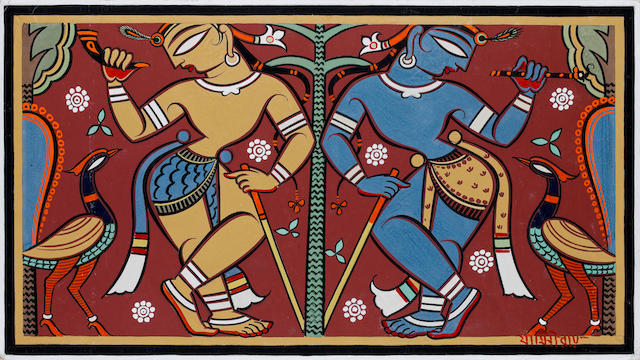 (n/a) Jamini Roy (India, 1887-1972) Krishna and Balarama with Peacocks,